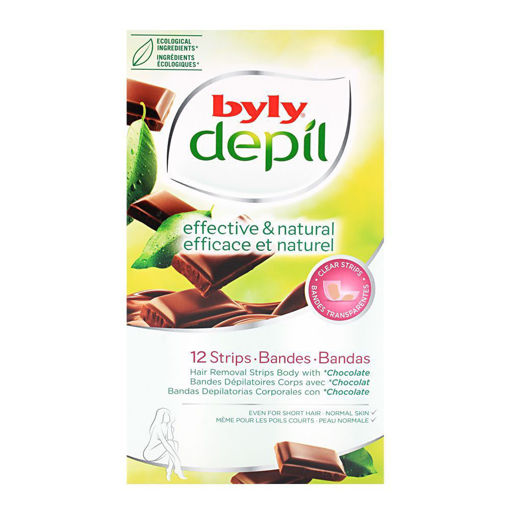 Picture of BYLY DEPIL EFFECTIVE & NATURAL CHOCOLATE HAIR REMOVAL BODY WAX STRIPS 12-PACK