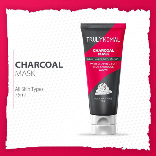 Picture of TRULYKOMAL CHARCOAL MASK DEEP CLEANSING  DETOX 75ML