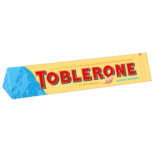 Picture of TOBLERONE CHOCOLATE WITH HONEY & ALMOND & SALTED CARAMELISED ALMONDS 100G