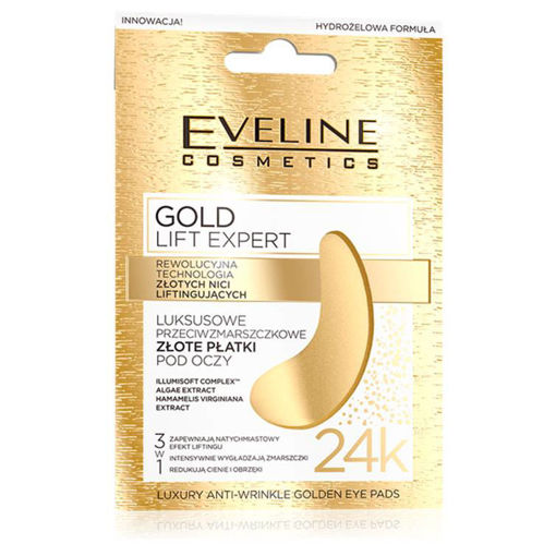 Picture of EVELINE GOLD LIFT EXPERT LUXURY ANTI-WRINKLE GOLDEN EYE PADS MASK 24K GOLD