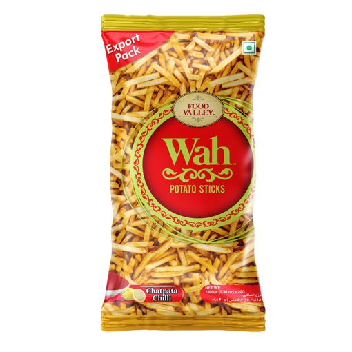 Picture of FOOD VALLEY WAH POTATO STICKS CHATPATA CHILLI 150G